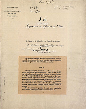 Loi du 9 décembre 1905 concernant la séparation des Églises et de l'État
