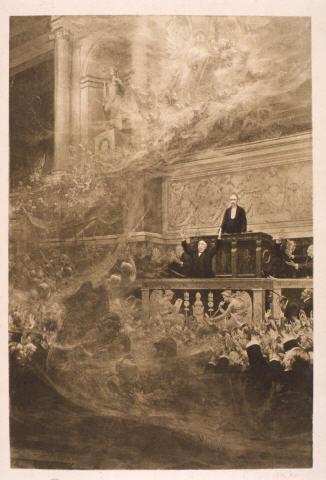 Clemenceau à la tribune de la Chambre des députés, 11 novembre 1918 - Lithographie, par René Rousseau-Decelle